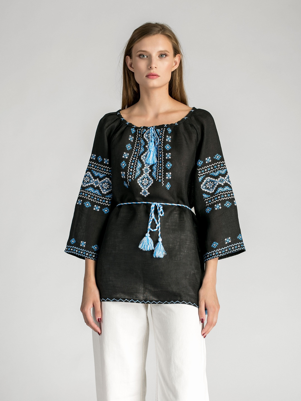 Женская черная вышиванка ручной работы из льна Ф11 ... 861844e9628a6
