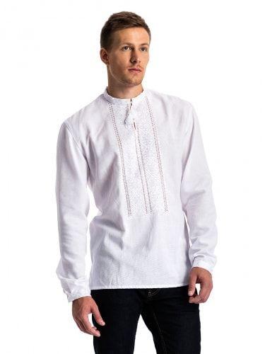 """Мужская вышиванка в технике """"белым по белому""""  E15 Фото 2"""