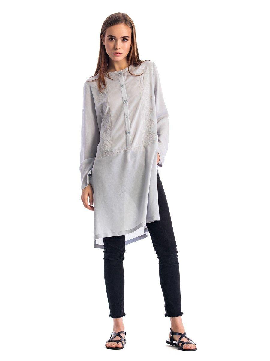 Жіноча блуза попелястого кольору вільного крою з батисту Light1 ... a5af125dcfeb4