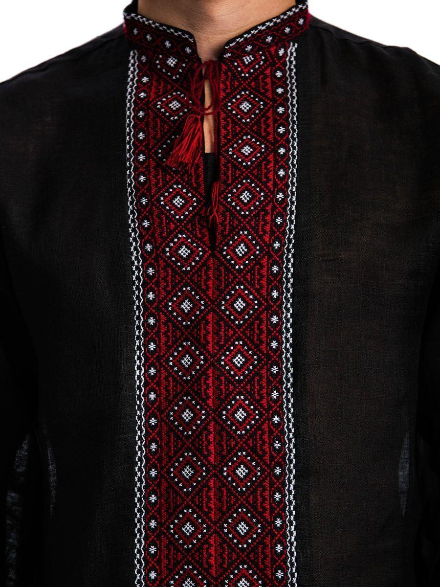 Черная мужская вышиванка с традиционным орнаментом Б12 Фото 3