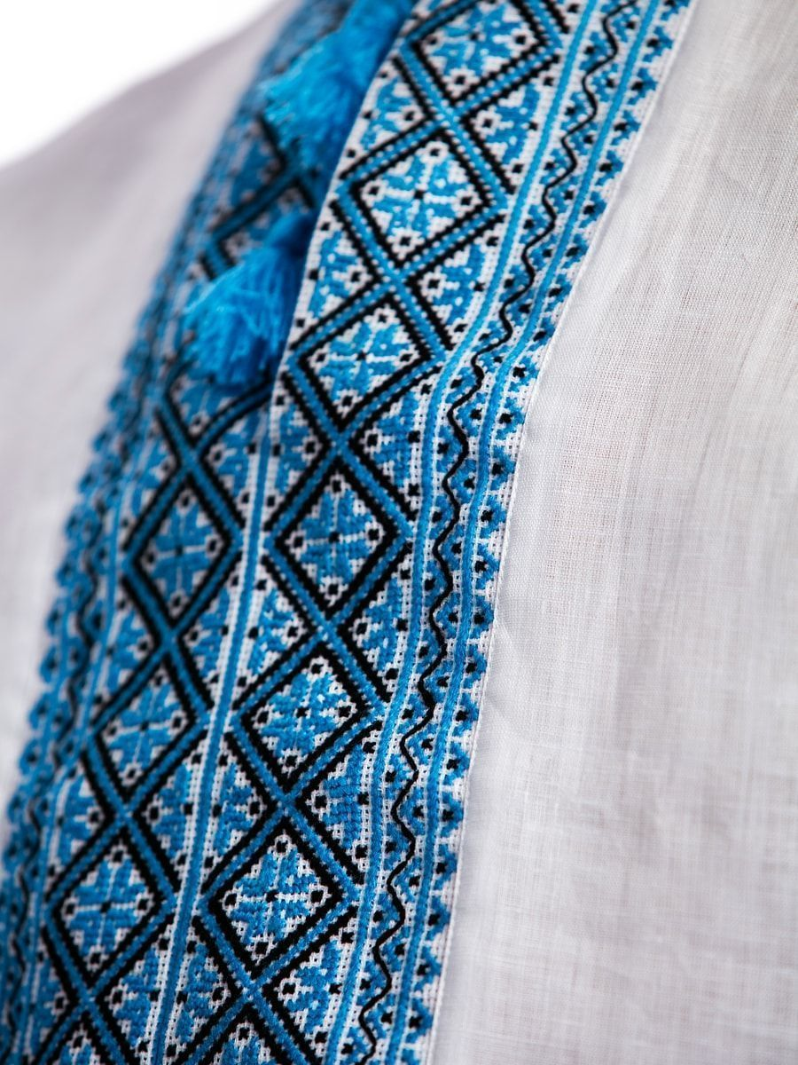 d7ca98e63a Linen handmade embroidered shirt with blue ornament L23 – buy in ...