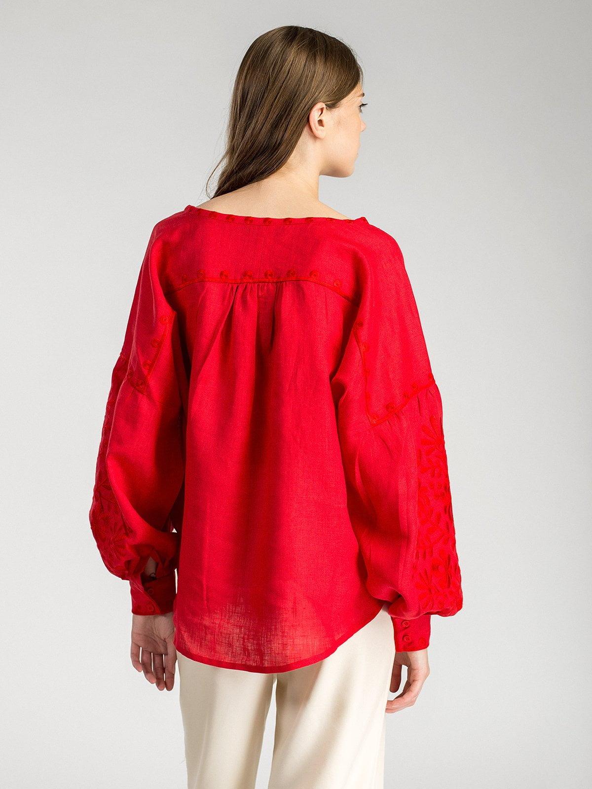 Червона жіноча вишиванка з пишними рукавами Red Bird – купити в ... a355a34e9cea1