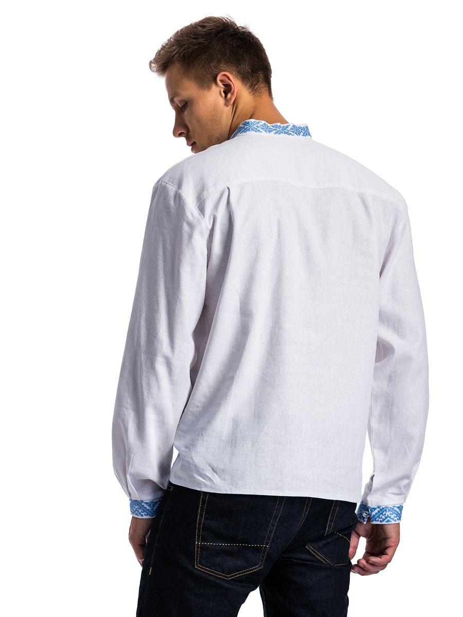 Белая мужская вышиванка с нежно-голубой вышивкой E17 Фото 3