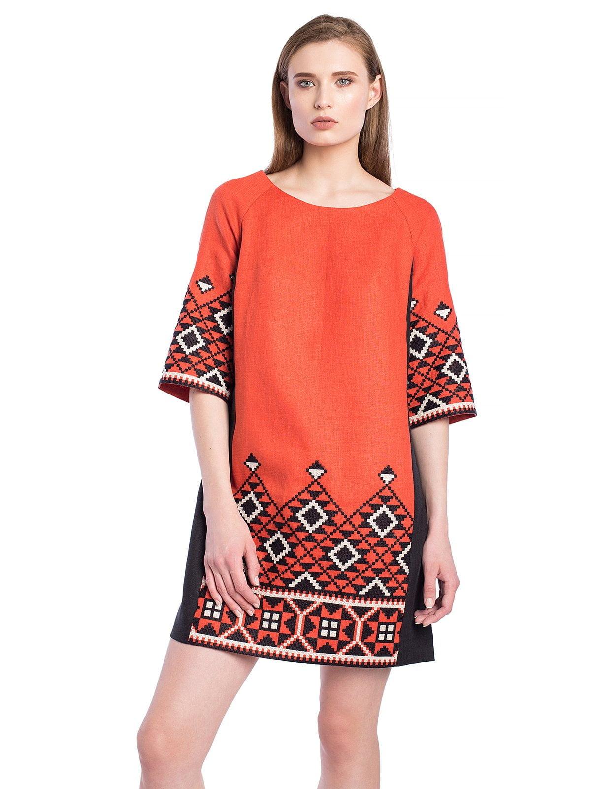 6d2325dc5fae2e Терракотовое льняное платье с геометрической вышивкой ETHNO2 ...