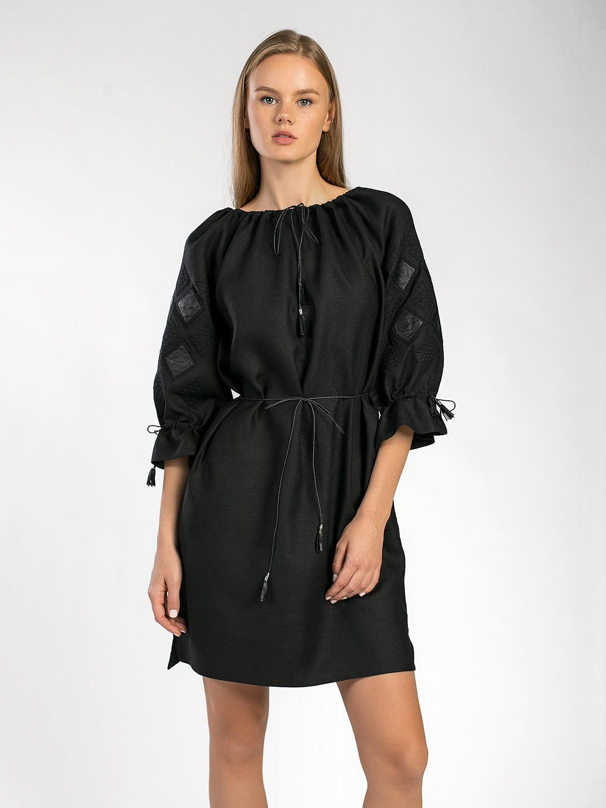 Чорна лляна сукня з шкіряними декоративними вставкми ETHNO1 – купити ... 9073c773f9976
