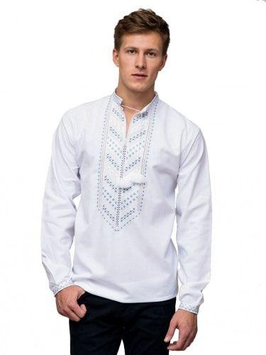 Мужская вышиванка с нежно-голубой вышивкой гладью E21