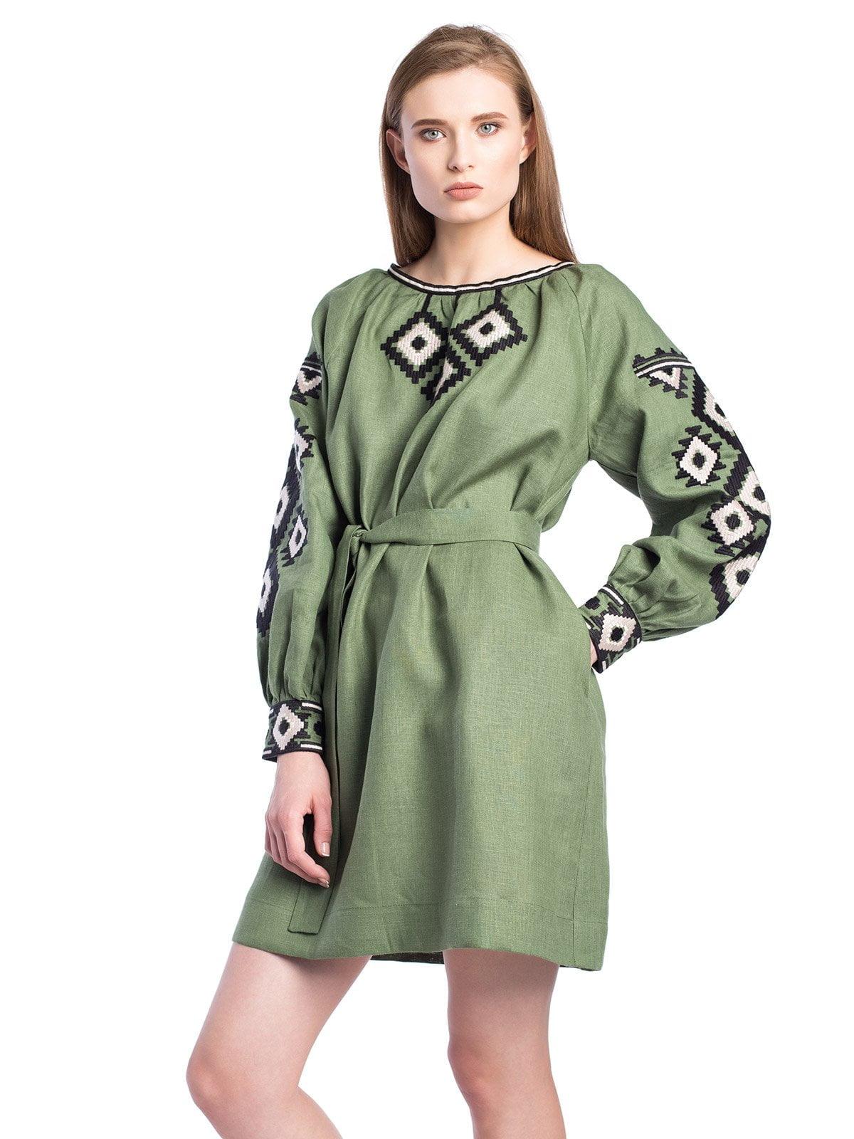 Лляна вишита сукня зеленого кольору з поясом MD6 NEW – купити в ... ee93e4b899066