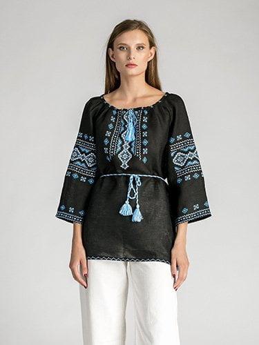 Женская черная вышиванка ручной работы из льна Ф11