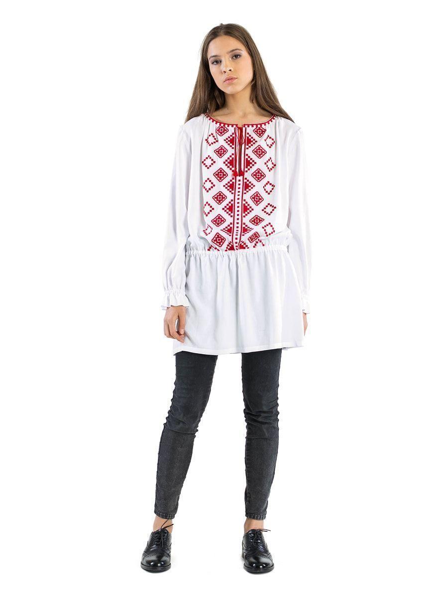 Жіноча блуза вільного крою білого кольору з батисту Light 5 – купити ... 26e26c2963750