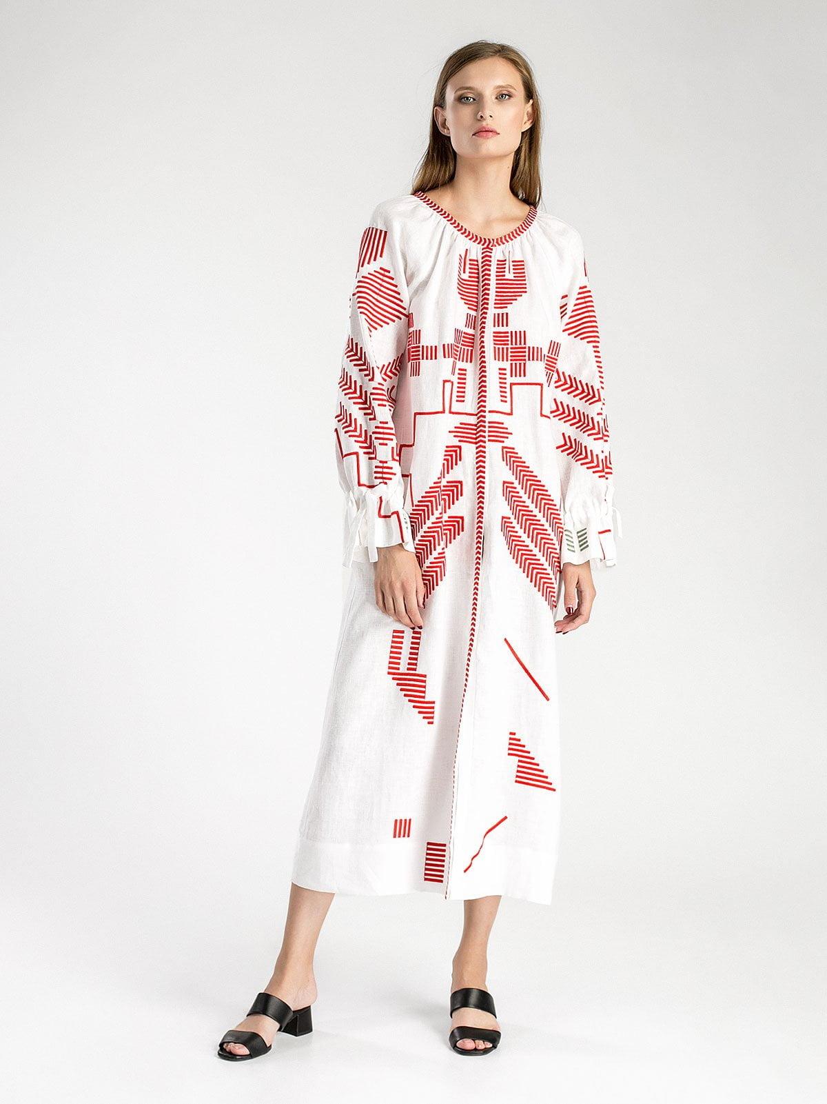 Біла лляна сукня з геометричною вишивкою Borodina – купити в Києві ... b91741c7f4319