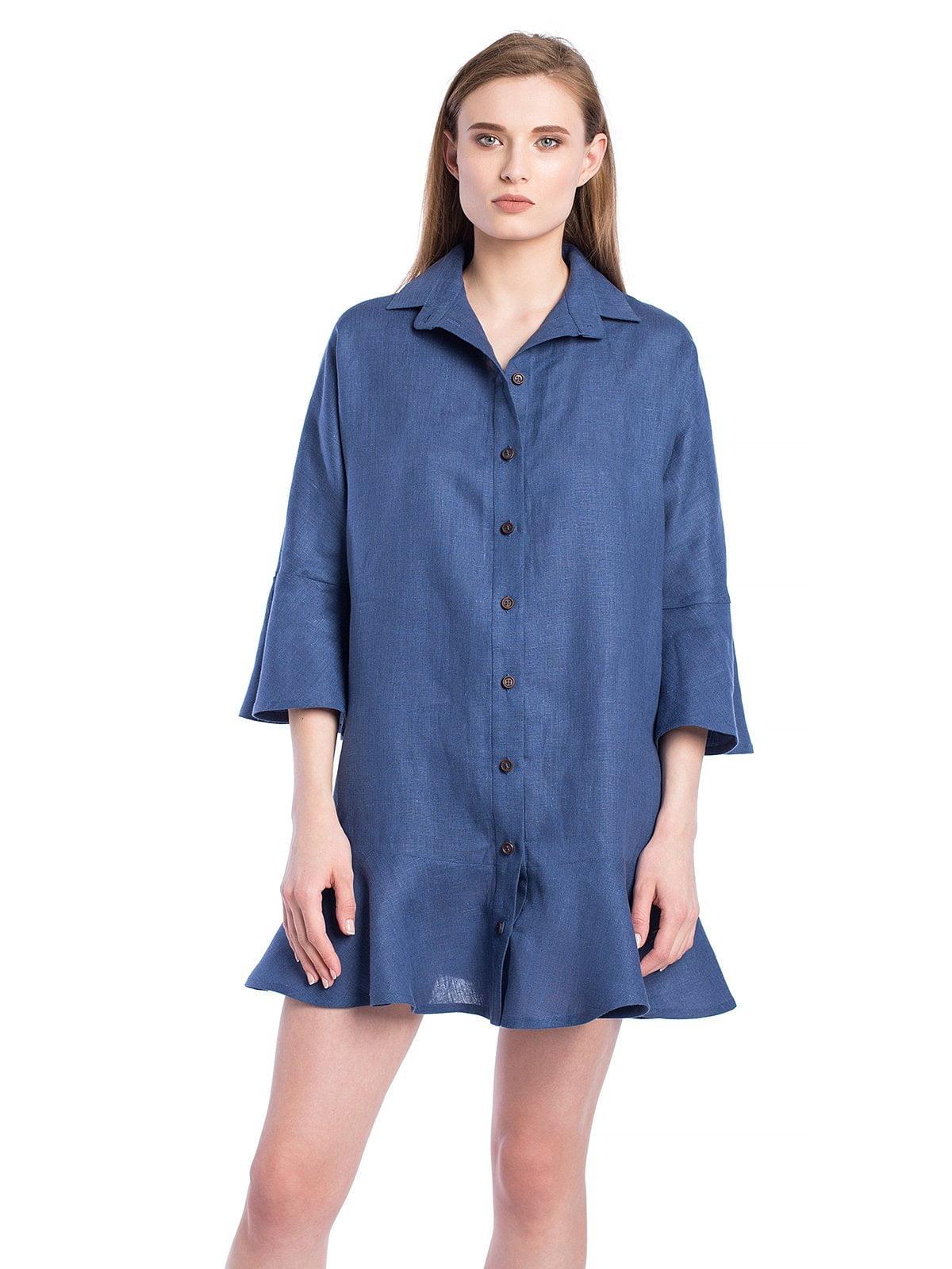 35b8c59d9c8 Синее льняное платье-рубашка с расклешенными рукавами EASY9  купить ...
