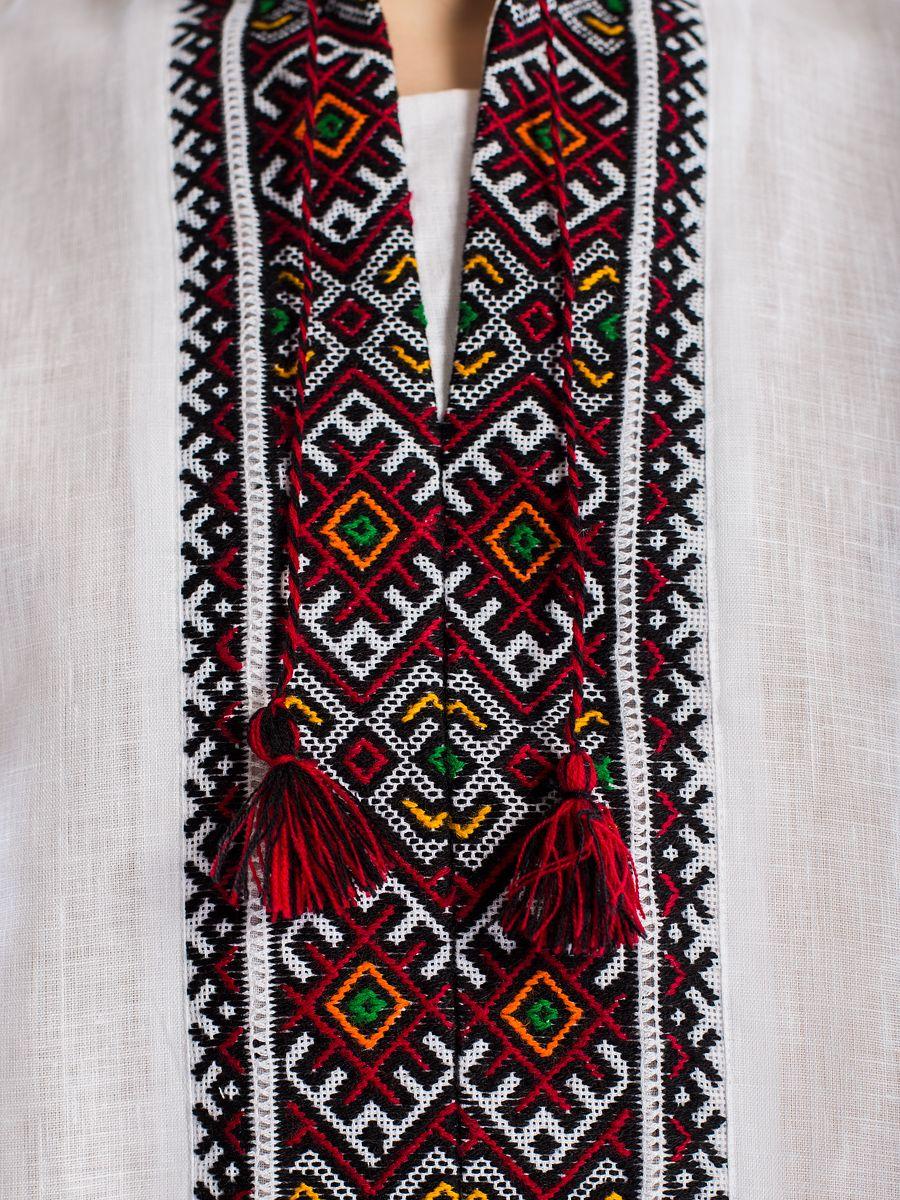 Белая льняная вышиванка ручной работы с гуцульским орнаментом Л1 Фото 5