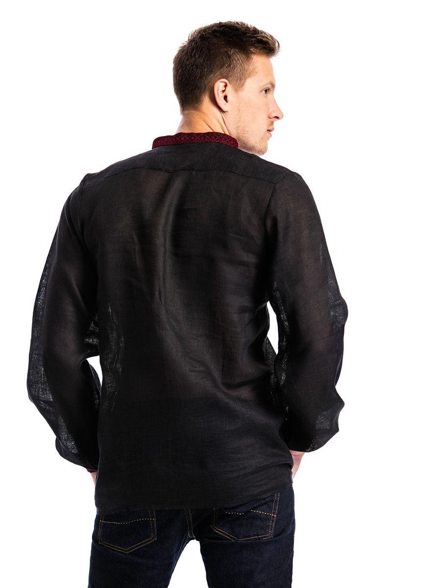 Черная льняная вышиванка с красным орнаментом Б1 Фото 5