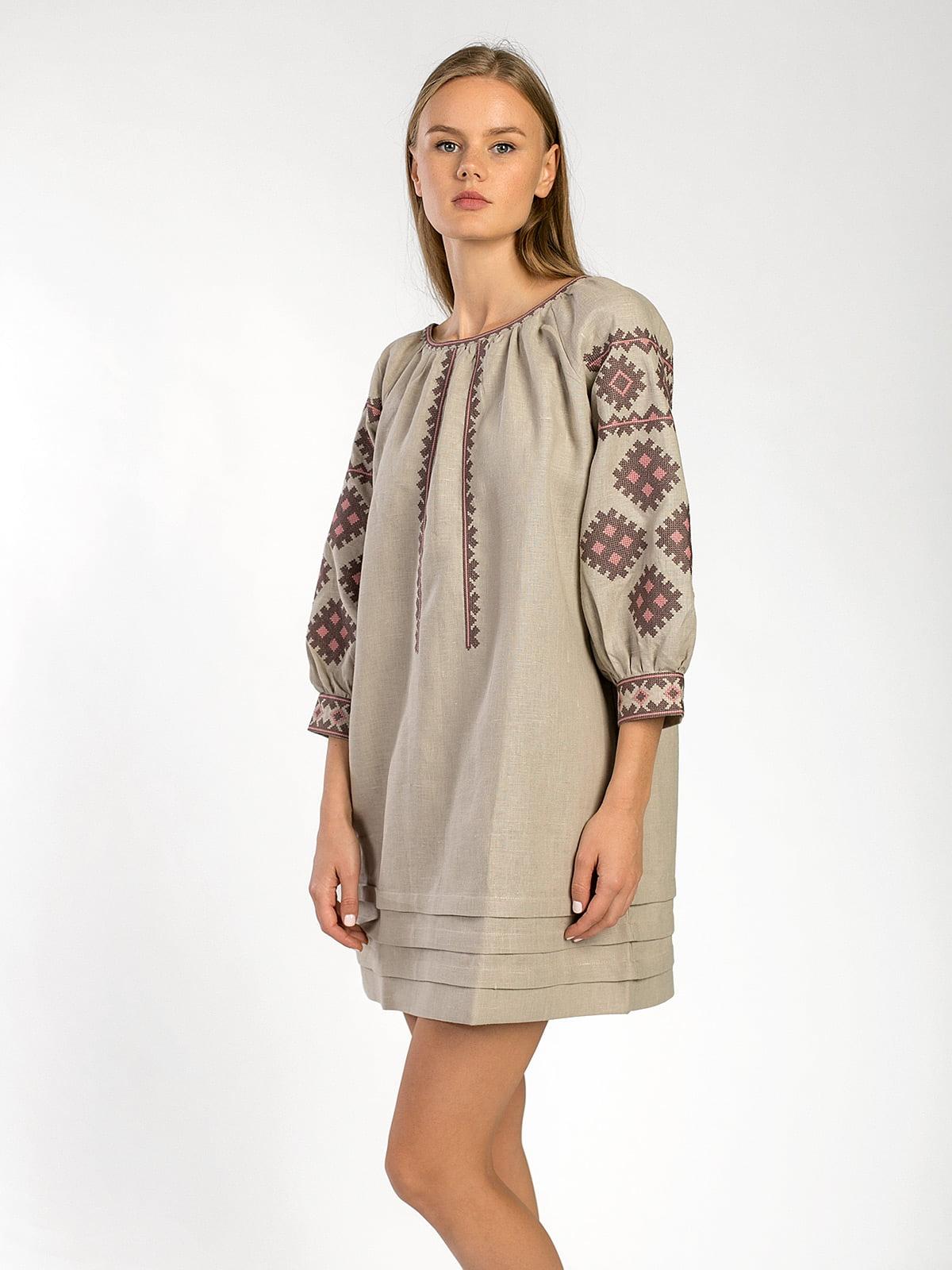 Лляна вишита сукня вільного крою з кишенями MD18 – купити в Києві та ... 2f841ab793854