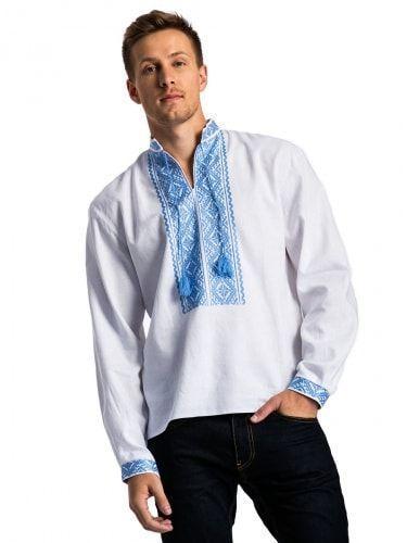 Белая мужская вышиванка с нежно-голубой вышивкой E17