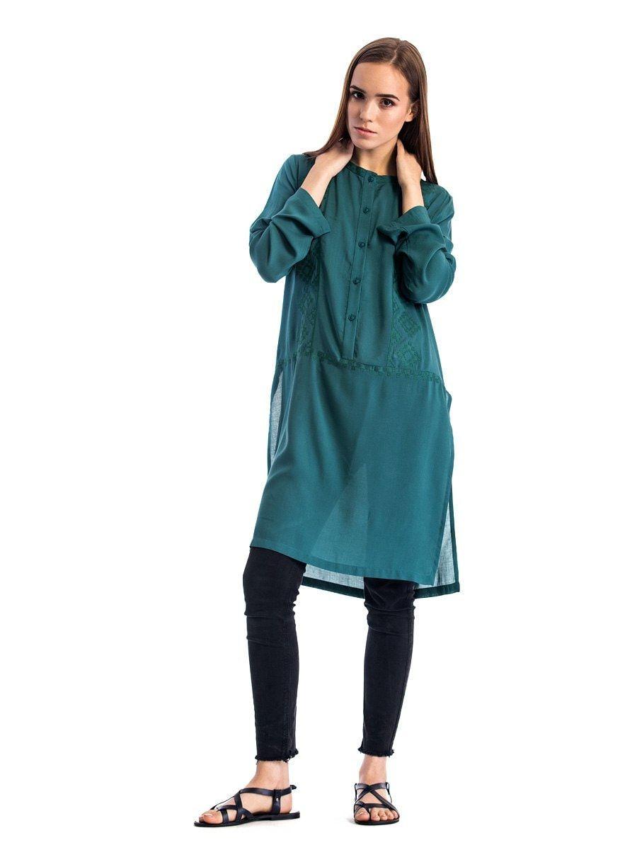 Жіноча блуза вільного крою зеленого кольору з батисту Light 2 ... a80859301972c