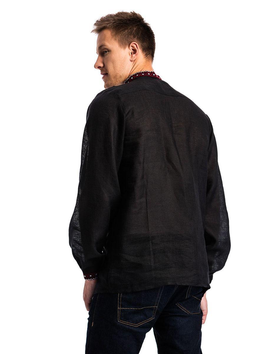 Черная мужская вышиванка с традиционным орнаментом Б12 Фото 4