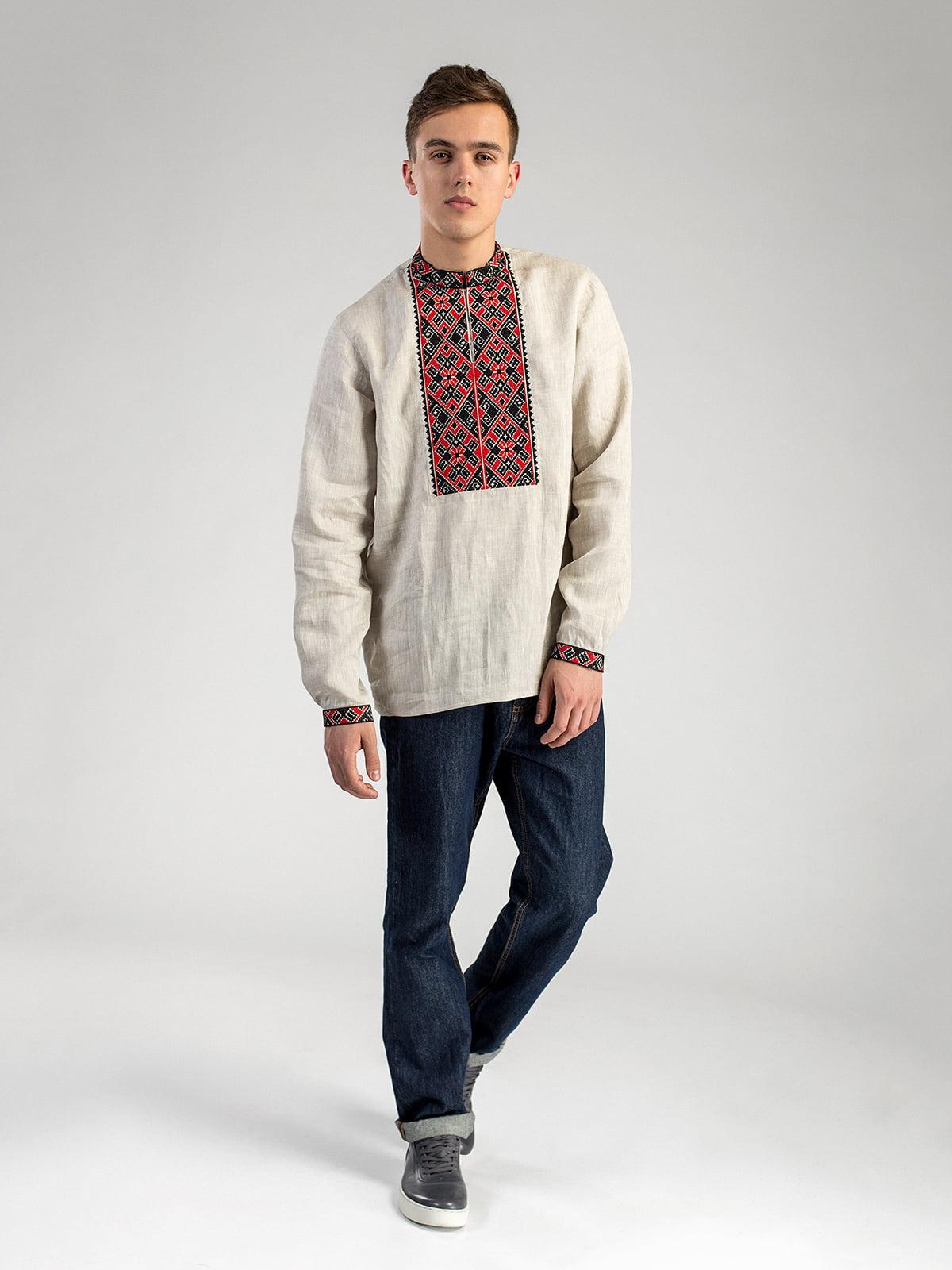5e8d8fc1244 Мужская рубашка из серого льна с красно-черной вышивкой ED2 2 Фото 2