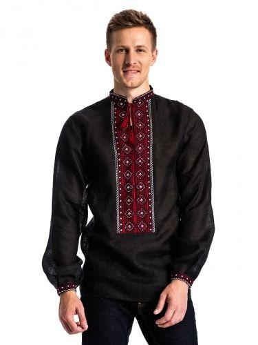 Черная мужская вышиванка с традиционным орнаментом Б12 Фото 1