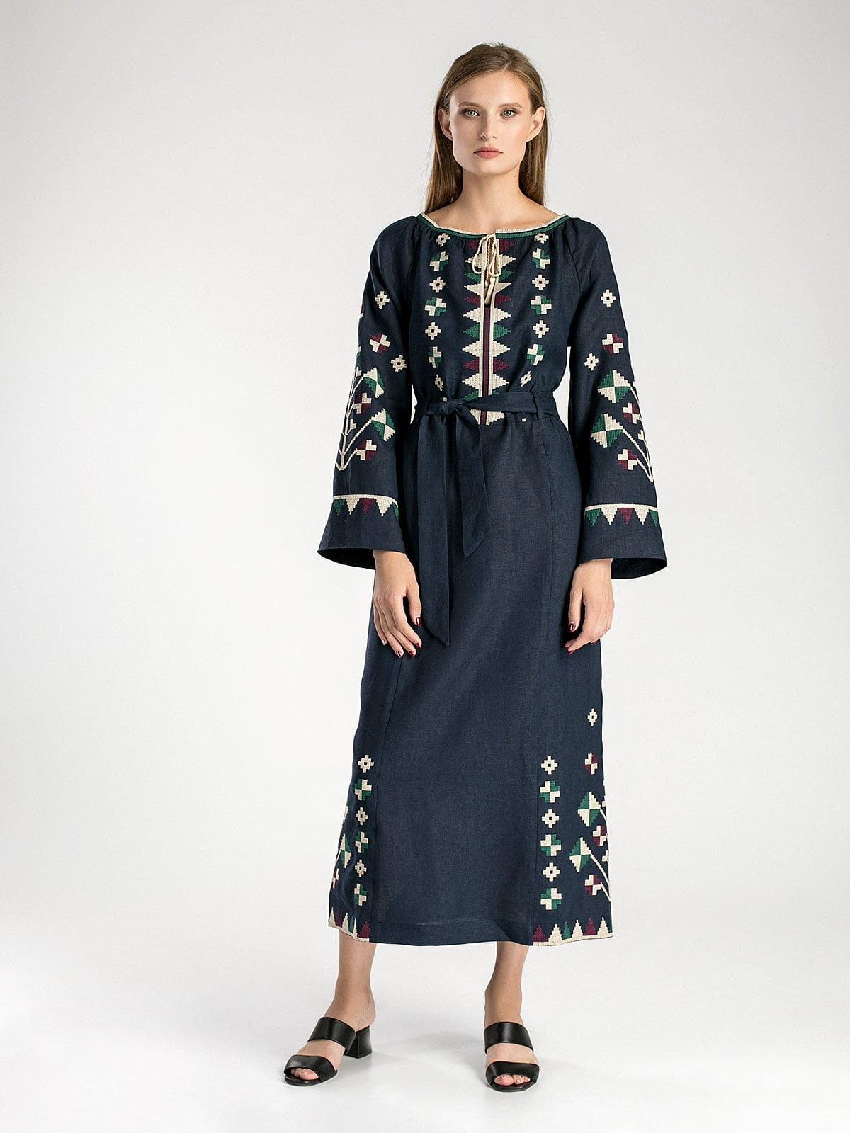 Темно-синя довга вишита сукня під пояс ETHNO4 – купити в Києві та ... 2140dda5e5ee2