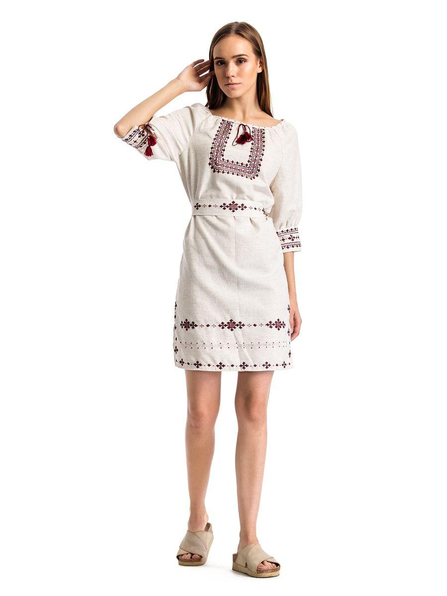 394597f13dbf70 Женское вышитое платье из серого льна ручной работы М15 – купить в ...
