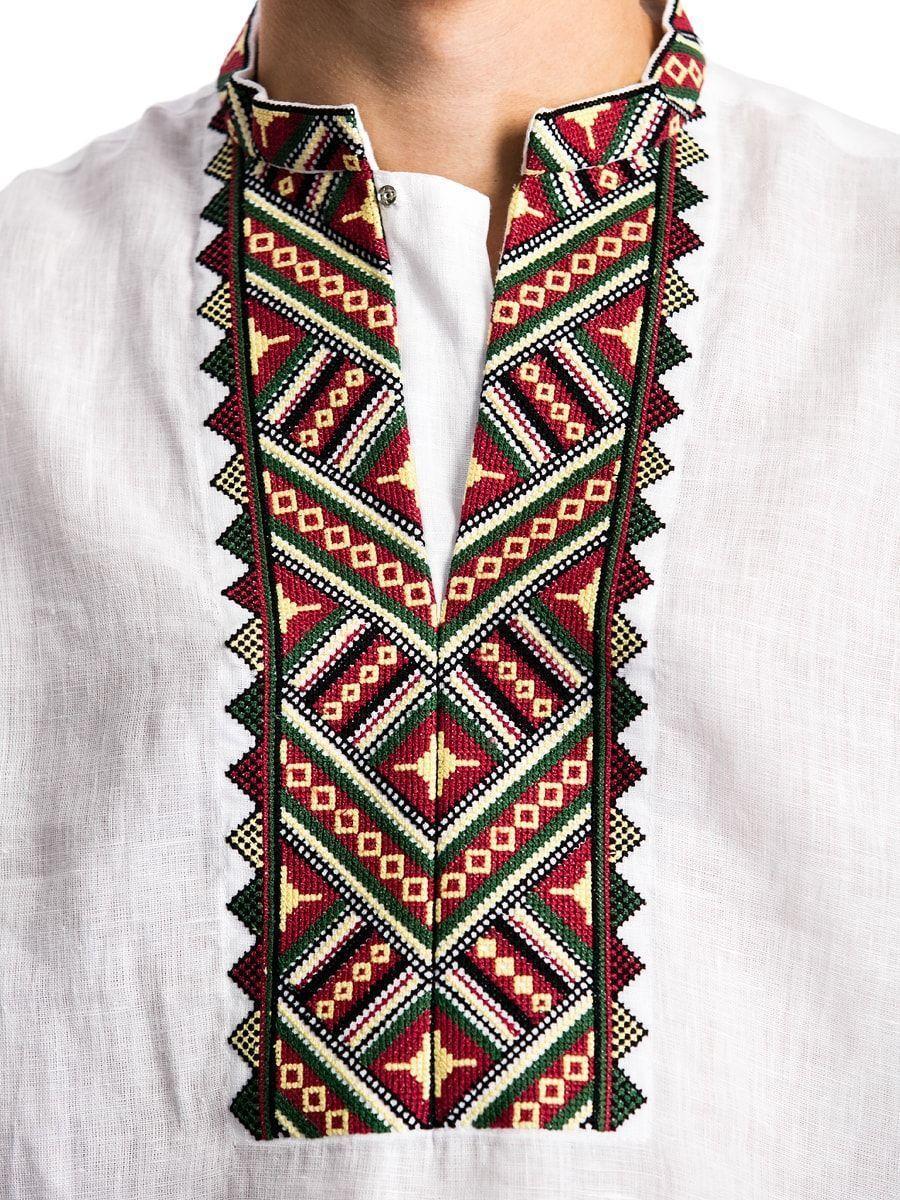 ... Біла лляна дизайнерська вишиванка з гуцульським орнаментом ED5 5 99bdbbc4e5b54