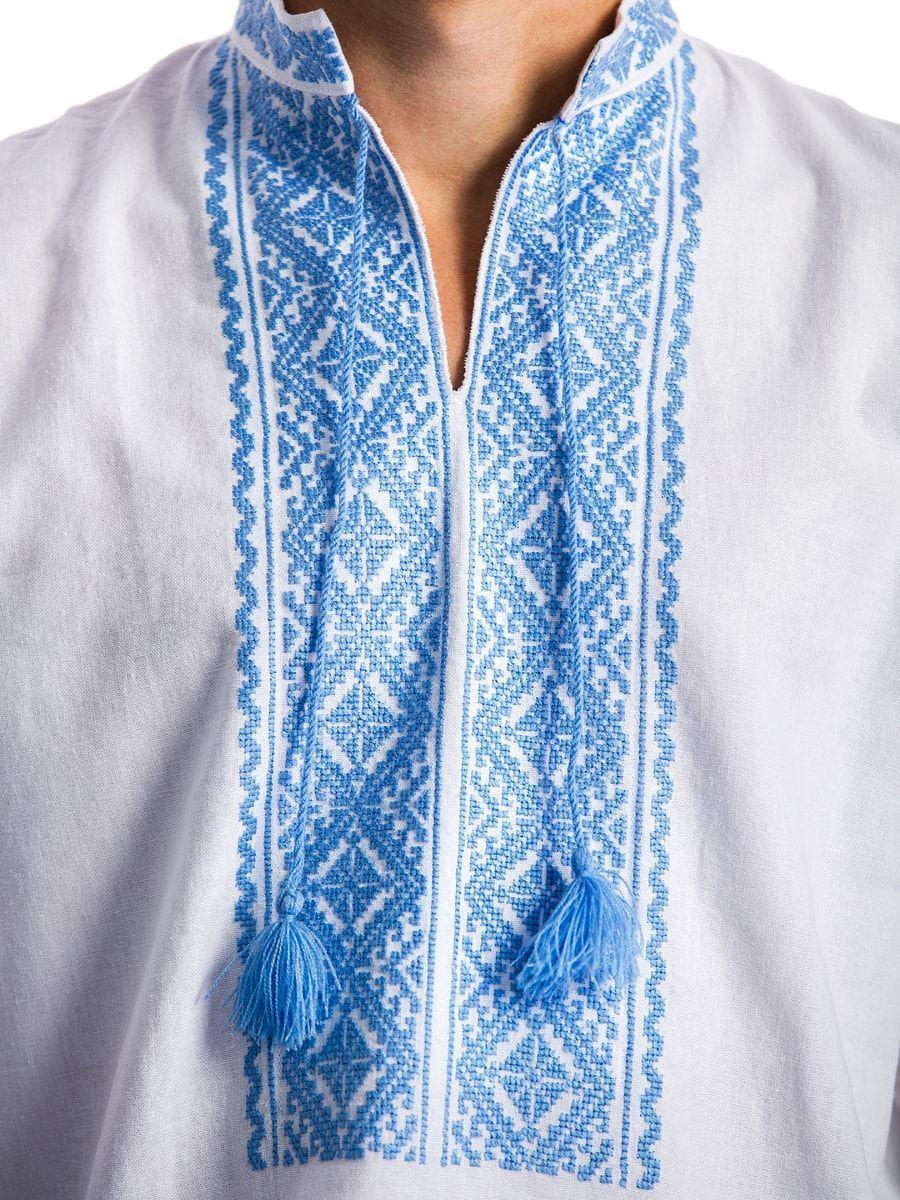 Белая мужская вышиванка с нежно-голубой вышивкой E17 Фото 4