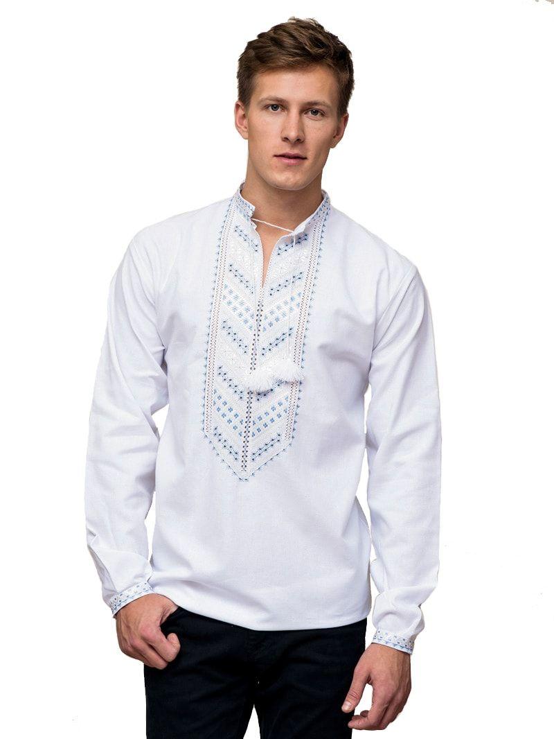 Чоловіча вишиванка з ніжно-блакитною вишивкою гладдю E21 – купити в ... 860e952f7e7c8