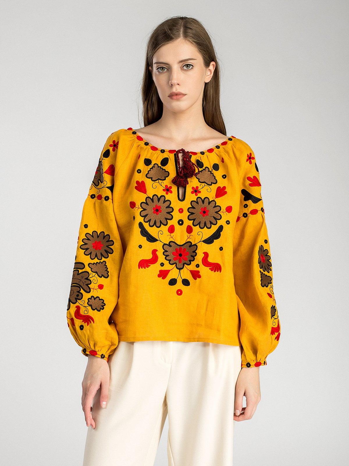 Колоритна вишиванка з жовтого льону Pride – купити в Києві та ... 05135b36a3392