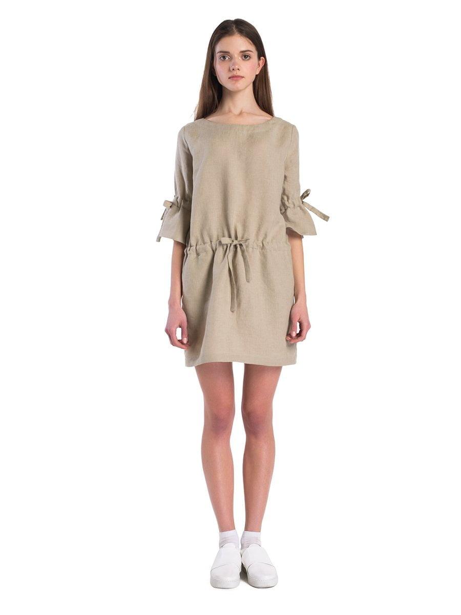 Лляна сукня з вшитим поясом та зав язками на рукавах EASY10 – купити ... 3da2583011dec