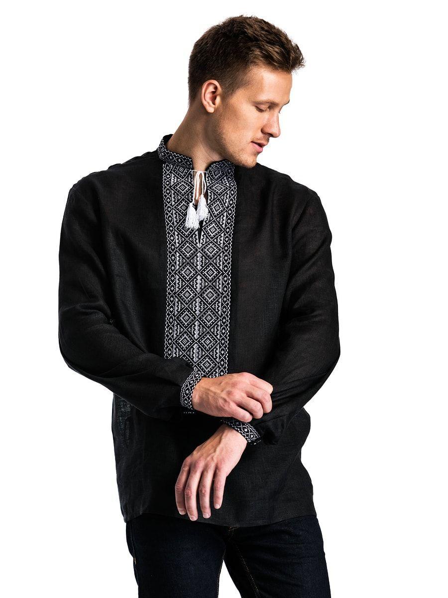 Черная льняная мужская вышиванка с белым орнаментом Б2 Фото 4