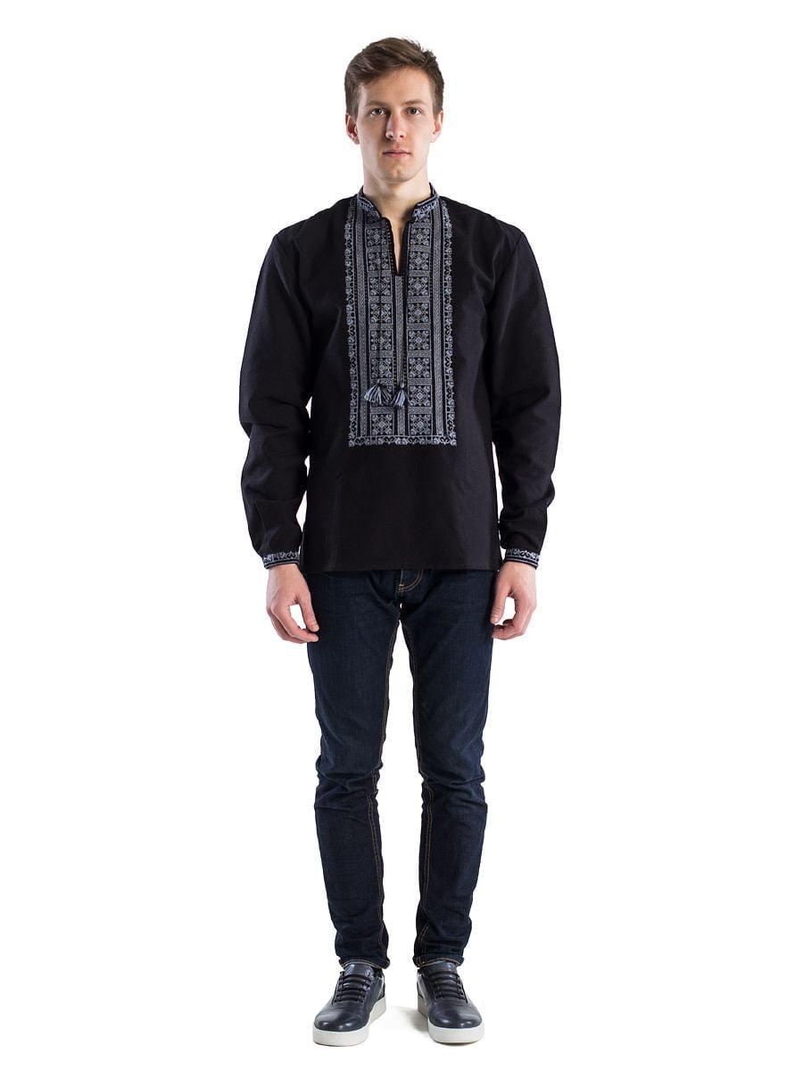 Чорна чоловіча вишиванка з домотканого полотна E33 – купити в Києві ... bc87bb77a044a