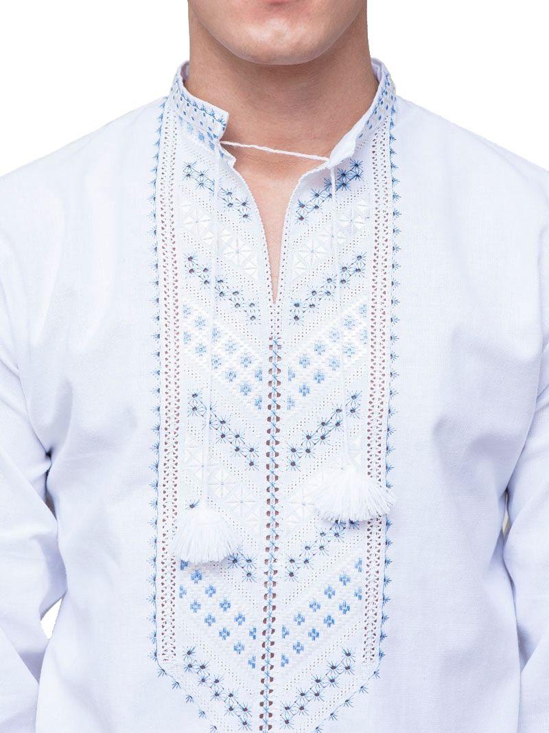 Мужская вышиванка с нежно-голубой вышивкой гладью E21 Фото 2