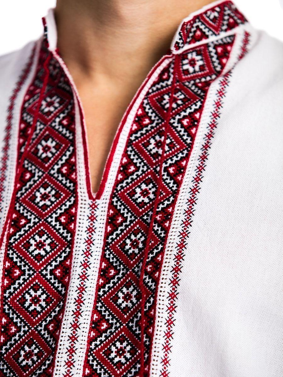 Вышиванка из домотканого полотна с традиционным орнаментом E23 Фото 2